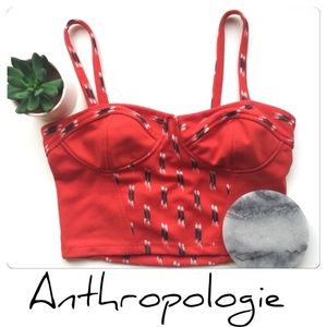 Anthropologie Red Crop Top Spaghetti Straps Size S